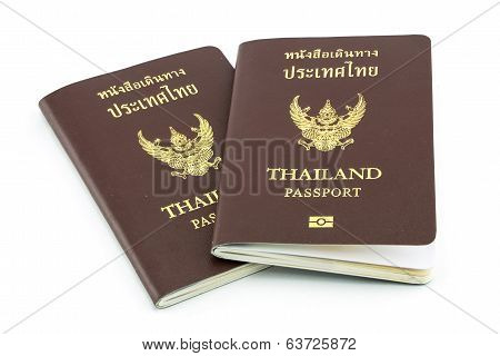 Thailand Passport  Isolated On White