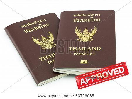Thailand Passport Visa Stamp Isolated