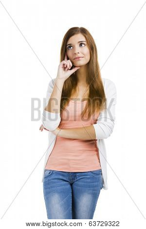 Beautiful blonde woman isolated over a white background thinking on something