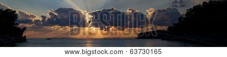 The Ionian sea Parga Greece at sunset