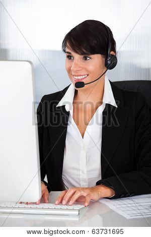 Callcenter Employee With Headset