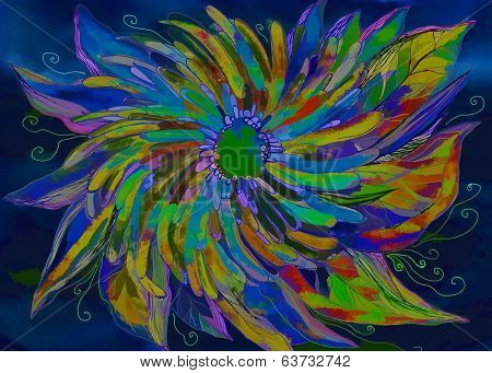 Bright Colored Abstract Illustration With Flower