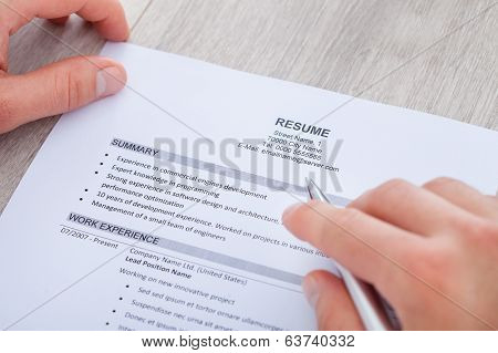 Businessman Reading Resume