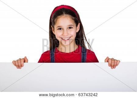 Girl with emtpy banner