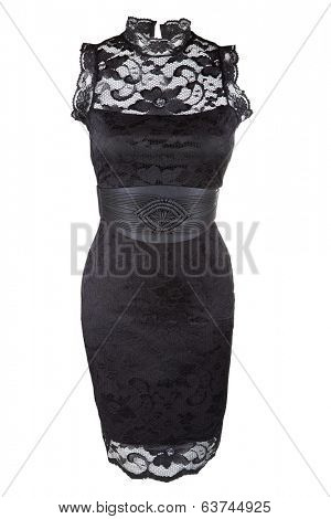Little black dress with lace and leather belt