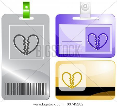 Unrequited love. Id cards. Raster illustration.