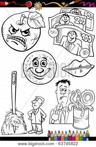 Cartoon Sayings Set For Coloring Book