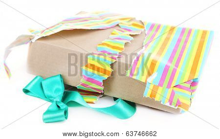 Unwrapped and opened gift box isolated on white
