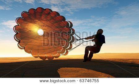 Parashutist a parachute in the sky.