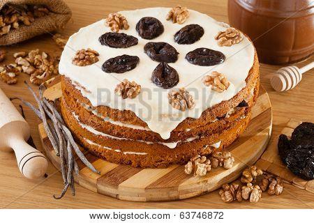 Honey Cake With Plum And Walnut