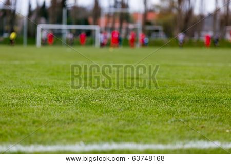 Soccer Pitch With Blurred Players