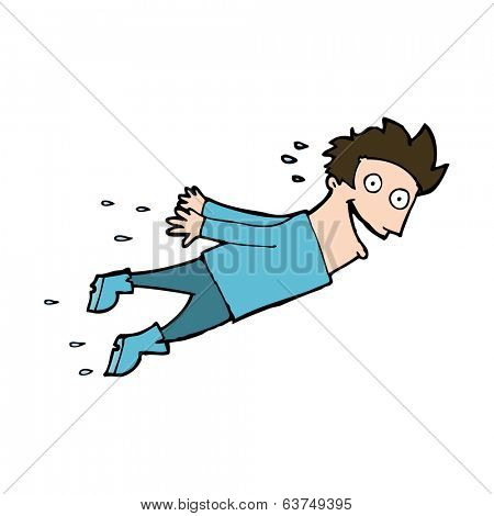 cartoon drenched man flying
