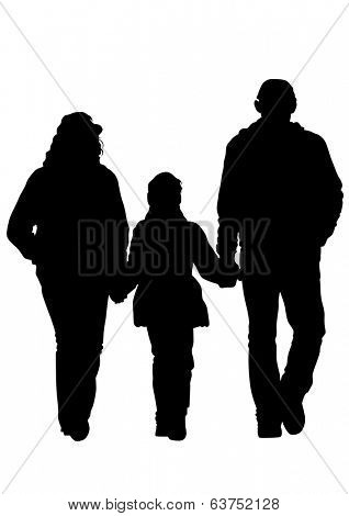 Families with a child on white background