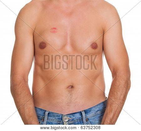 Shirtless Man With Lipstick Mark