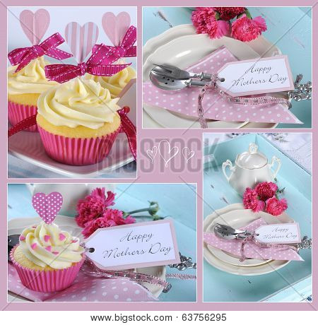 Happy Mothers Day Collage Of Four Images Of Pink Theme Cupcakes Gifts On Vintage Aqua Blue Tray Sett