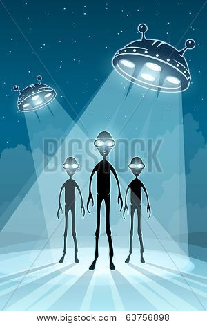 ufo alien newcomers and flying saucers. Rasterized illustration.