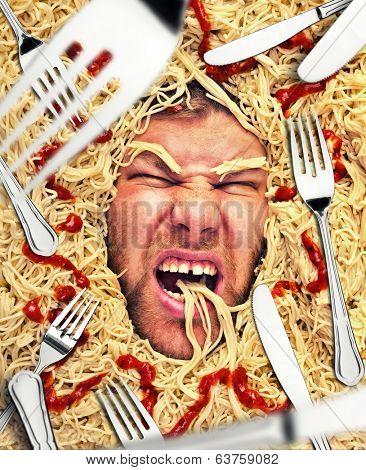 Man's face in pasta, closeup