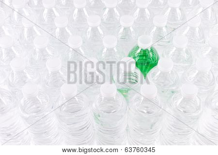 Plastic Water Bottles With A Green One