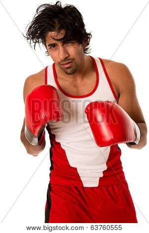 Male boxer in red. Studio shot over white.
