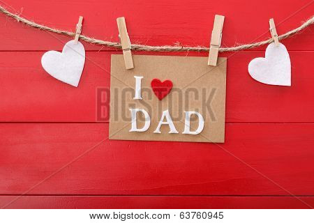 Fathers Day Message Over Red Wooden Board