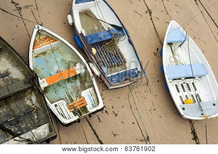 Small Wooden Boats In St Ives Harbour