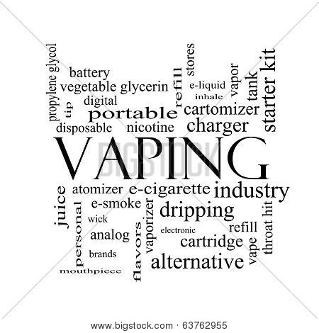 Vaping Word Cloud Concept In Black And White