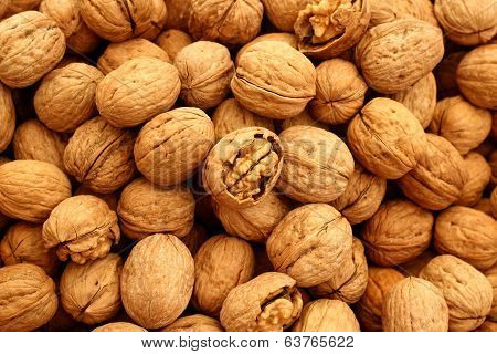 Walnuts in street market