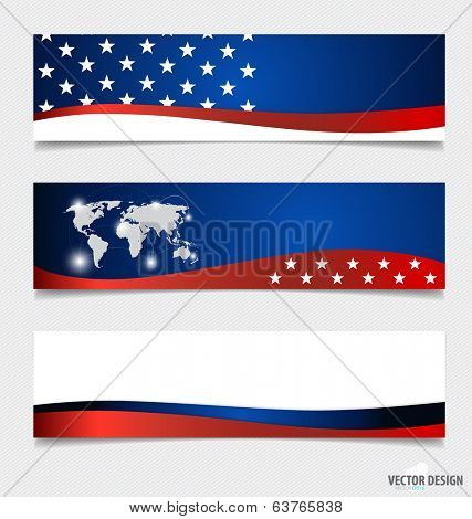 American Flag and note papers, ready for your message. Vector illustration.