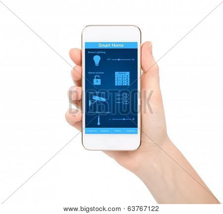 Isolated Woman Hand Holding The Phone With System Smart House