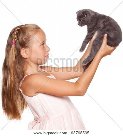 Girl with lop-eared cat isolated on white
