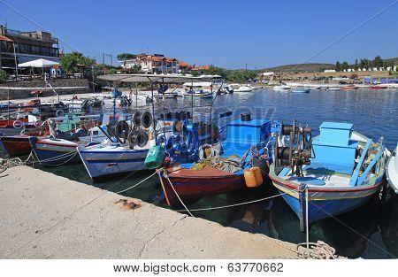 Multicolored Fishing Boats In Halkidiki, Greece.
