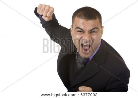 Stressed Businessman Is Angry And Shows Fists
