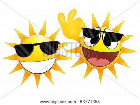 Smiling sun Emoticon holding a glasses