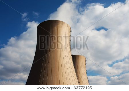 Cooling Towers Of Nuclear Power Plant Against A Sky