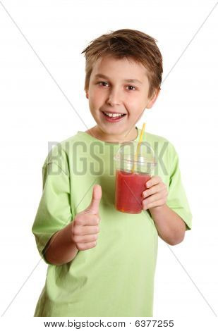 Healthy Boy Drinking Juice Thumbs Up