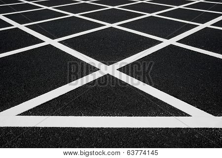 Cross White Lines On Blacktop