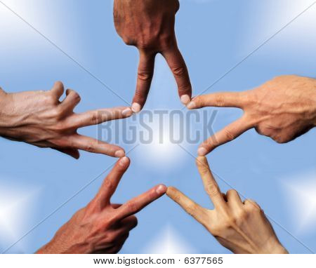 Five Hands Building A Star