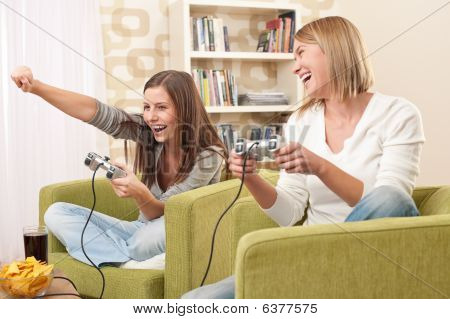 Students - Two Female Teenager Playing Video Tv Game