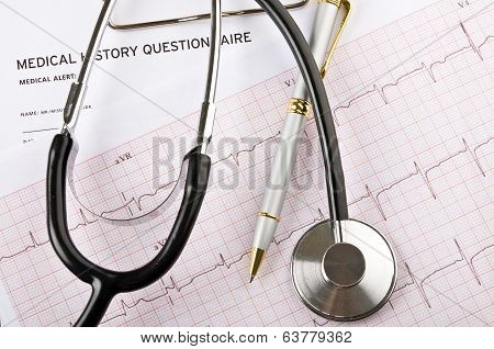 Medical Concept With Stethoscope And Cardiogram