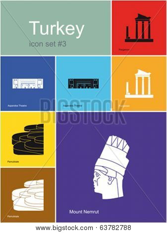 Landmarks of Turkey. Set of flat color icons in Metro style. Editable vector illustration.