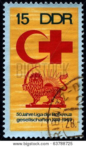GERMANY,  CIRCA 1969: Postage stamp printed in GERMANY (DDR), dedicated to the International Red Cross and crescent,  circa 1969