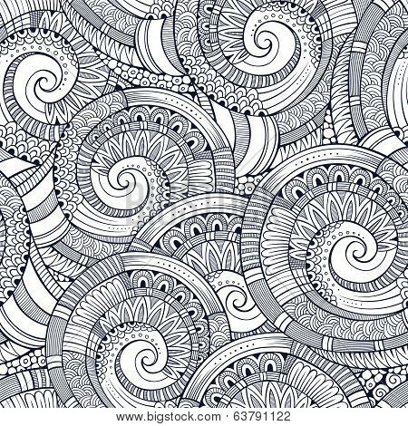 Vector spiral decorative doodles pattern