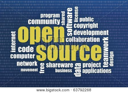 software development concept - open source word cloud on a binary computer screen background