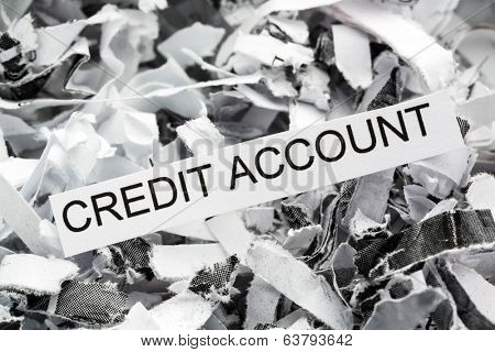 shredded paper tagged with credit account, symbolic photo for data destruction, finance and credit