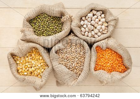 Hessian Bags With Cereal Grains