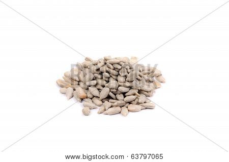 Bunch of white sonflower seeds.