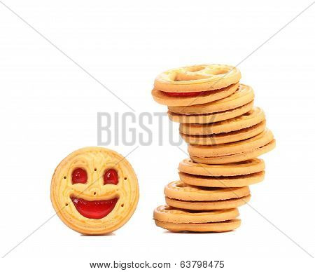 Stack of cookies with smile.