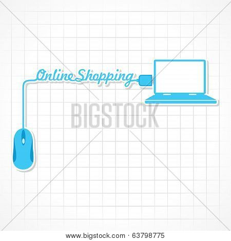 Online shopping Concept with mouse and laptop