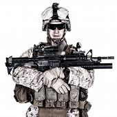 picture of assault-rifle  - US marine with his assault rifle on white background