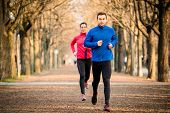 stock photo of competing  - Jogging couple  - JPG